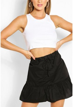 Black Drop Hem Cotton Poplin Mini Skirt