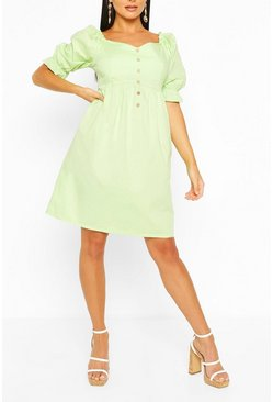 Washed lime Puff Sleeve Button Detail Midi Skater Dress