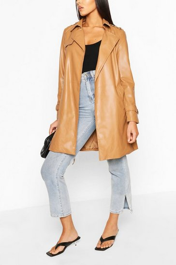 Camel PU Belted Trench Coat