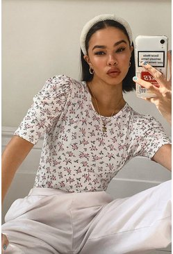 White Ditsy Floral Puff Sleeve Top