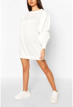 Ivory Recycled Loopback Puff Sleeve Sweat Dress