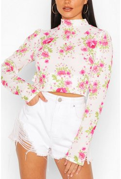 White Floral Woven Ruffle Open Back Crop Top