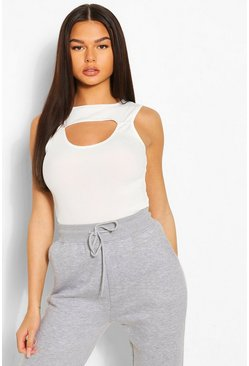 Cut Out Ribbed Bodysuit, White