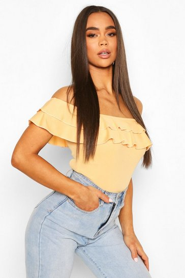 Apricot Off The Shoulder Ruffle Body