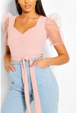 Blush Organza Sleeve Sweetheart Belted Top