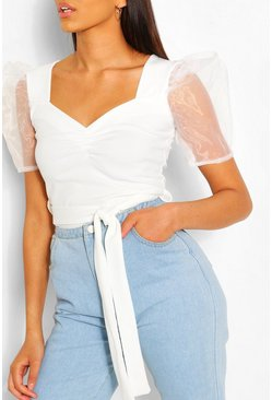 Organza Sleeve Sweetheart Belted Top, Ivory