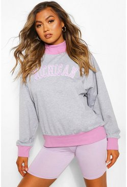 Michigan Slogan Contrast Sweat, Grey marl