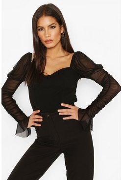 Black Mesh Ruched Sleeve Cup Detail Top