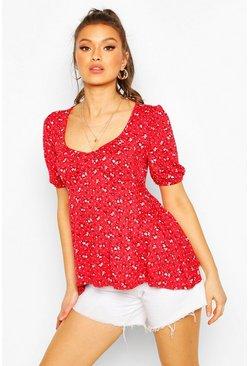 Red Ditsy Floral Puff Sleeve Smock Top
