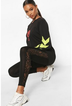 Lace Panel Legging , Black