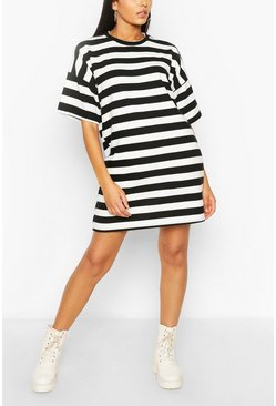 Stripe Oversized T-shirt Dress, Black