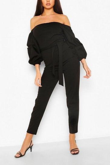Black Volume Sleeve Bardot Jumpsuit
