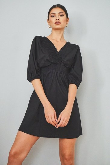 Black Cotton Shirred Wrap Skater Dress
