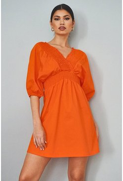 Orange Cotton Shirred Wrap Skater Dress