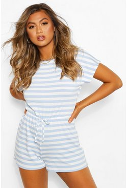 Striped Loopback Tie Waist Playsuit, Blue