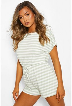 Sage Striped Loopback Tie Waist Playsuit