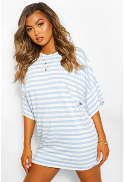 Blue Striped Loopback Slouch Sweat Dress