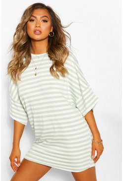 Striped Loopback Slouch Sweat Dress, Sage