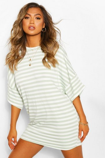 Sage Striped Loopback Slouch Sweat Dress