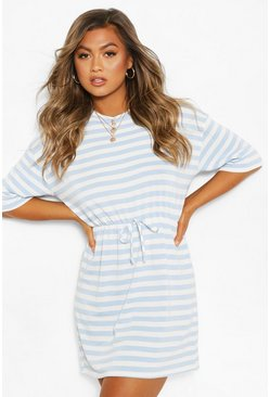 Blue Striped Loopback Tie Waist Dress