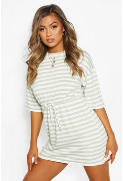 Sage Striped Loopback Tie Waist Dress