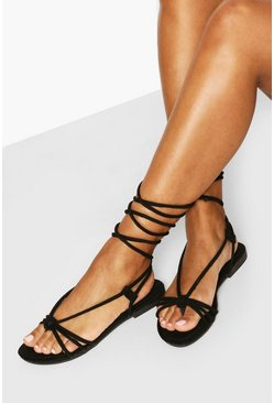 Black Wrap Up Strappy Sandals
