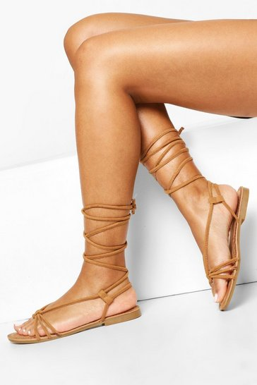 Tan Wrap Up Strappy Sandals