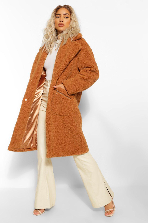 70s Jackets, Furs, Vests, Ponchos Womens Pocket Detail Teddy Faux Fur Coat - Beige - 12 $125.00 AT vintagedancer.com