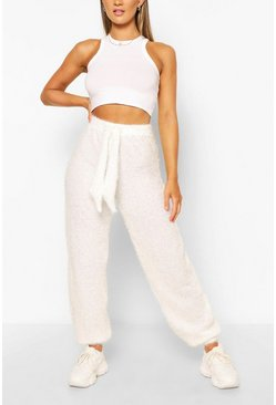 Ivory Fluffy Knit Oversized Joggers