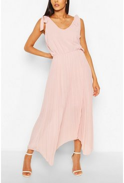 Blush Tie Strap Pleated Skirt Maxi Dress