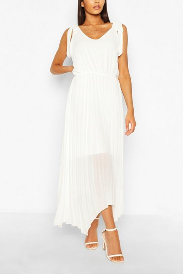 White Tie Strap Pleated Skirt Maxi Dress