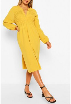 Mustard Oversized Shirred Detail Midi Smock Dress