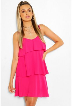 Hot pink Strappy Tired Swing Dress