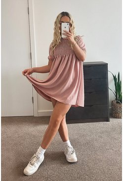 Soft pink Shirred Puff Sleeve Smock Dress