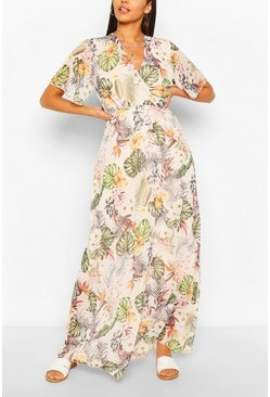 White Tropical Print Wrap Front Maxi Dress