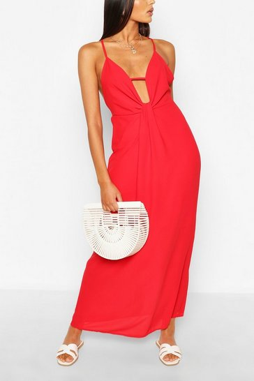 Red Twist Detail Strappy Maxi Dress