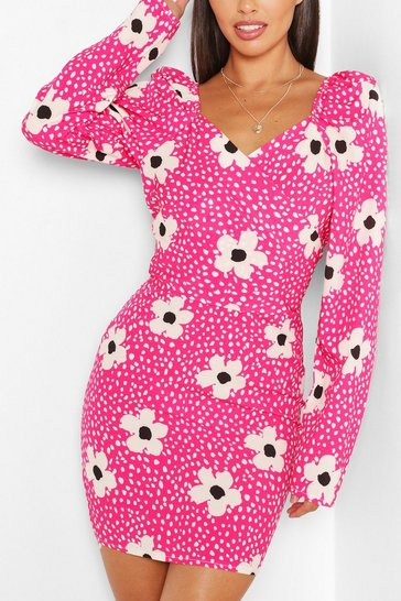 Hot pink Woven Floral Spot Wrap Puff Sleeve Mini
