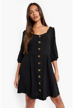 Black Linen Button Detail Square Neck Skater Dress