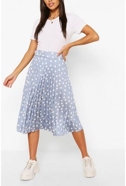 Blue Polka Dot Pleated Satin Midi Skirt