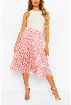 Animal Print Satin Pleated Midi Skirt, Rose