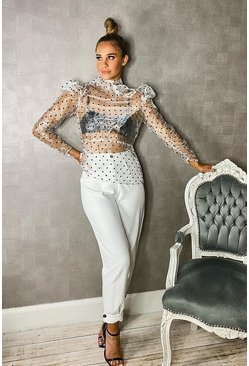 Ivory Woven Button Front Tailored Trousers