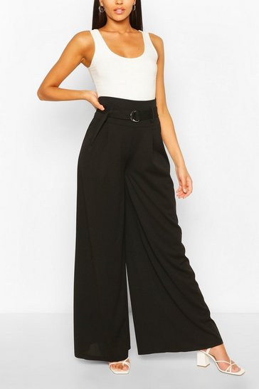 Black Belted Deep Waist Extreme Wide Leg Trousers