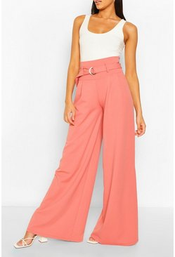Rose Belted Deep Waist Extreme Wide Leg Trousers