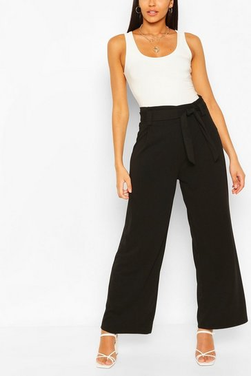 Black Paperbag Waist Woven Wide Leg Trouser