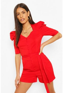 Puff Shoulder Button Front Playsuit, Red