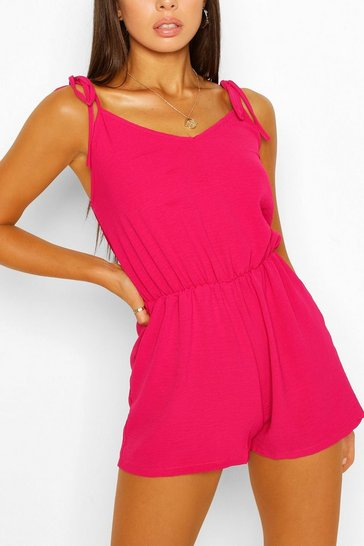 Hot pink Basic Strappy Playsuit