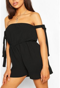 Black Bandeau Tie Detail Flippy Playsuit