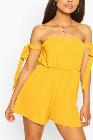 Mustard Bandeau Tie Detail Flippy Playsuit
