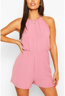 Mauve Basic High Neck Flippy Playsuit