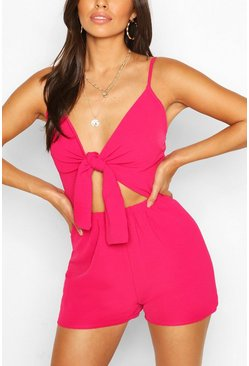 Hot pink Cut Out Tie Front Flippy Romper